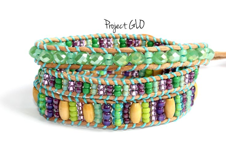Three Round Wrap Bracelet Leather Cord Glass Wood Beads Polymer Clay Braccialetto da Avvolgere 3 giri Mezzi Cristalli Sfaccettate di ProjectGLO su Etsy