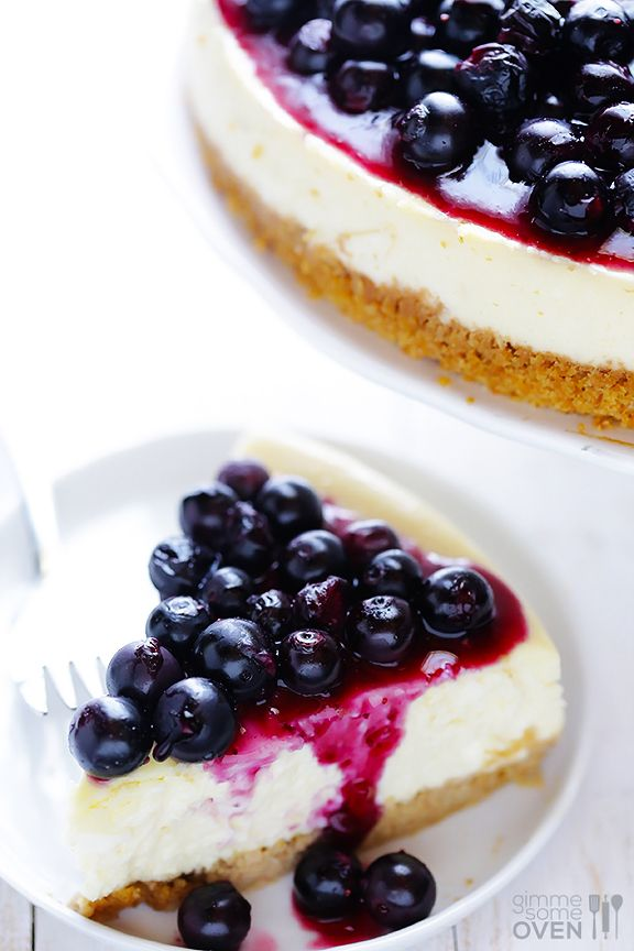 Lighter Blueberry Cheesecake Recipe   gimmesomeoven.com #dessert #cheesecake #recipe