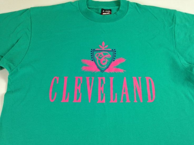 Cleveland T-Shirt Adult SZ M/L Green Pink Ohio Fruit of the Loom USA Made http://www.ebay.com/itm/-/262742340828?roken=cUgayN&soutkn=An4tMB #90s #vintage #believeland #lebron #cavs