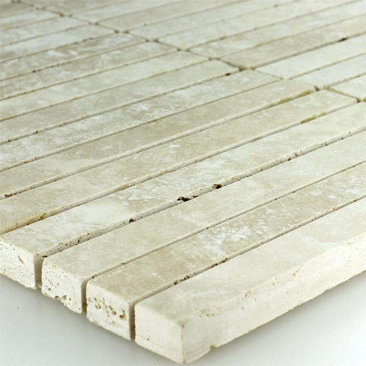 Travertin Mosaik Fliesen Beige Geschliffen 15x150x10mm