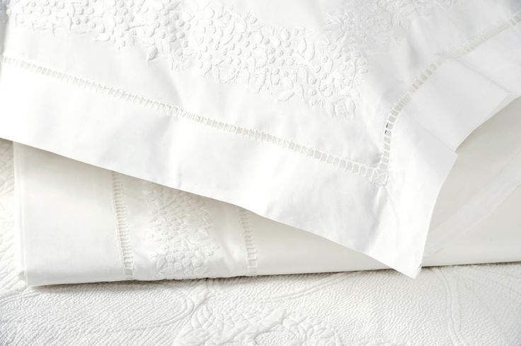 Her Shed Mimosa Linen   Pillow Slip Set $99 QS $289 / KS $329   250 Thread Count cotton mimosa with beautiful hand - embroidered flower border.