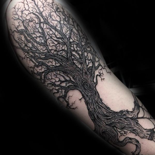 Detailed Guys Tree Roots Arm Tattoo