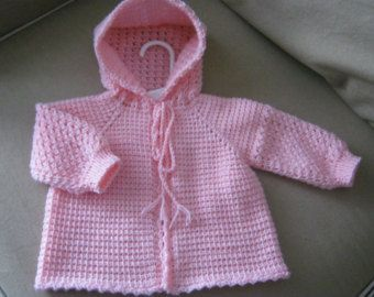 Orange Crochet Baby Sweater with Hood for Boy by ForBabyCreations