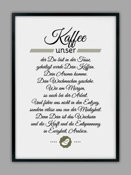 """KAFFEE UNSER"" Kunstdruck von Smart-Art Kunstdrucke auf DaWanda.com"