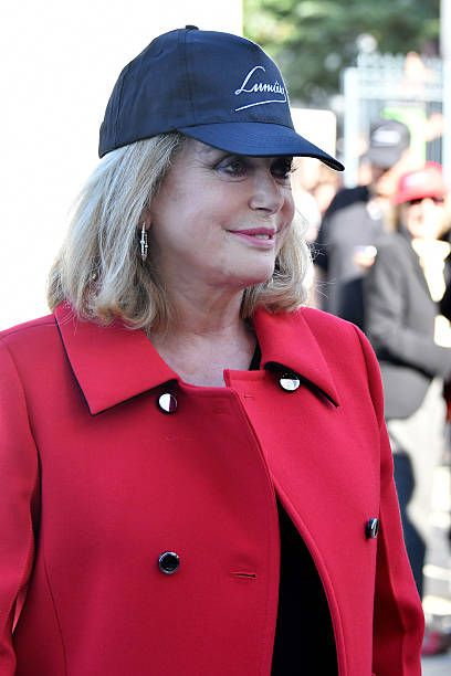 Catherine Deneuve attend the shooting of French Short black-and-white silent documentary film 'La Sortie de l'usine' directed by Park Chan-wook at the Louis Lumiere Institute on October 15, 2016 in Lyon, France.