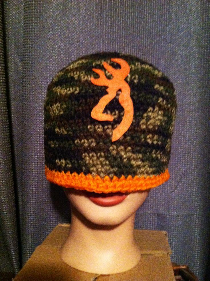 Crocheted Beanie With Camo And Orange Deer Logo My