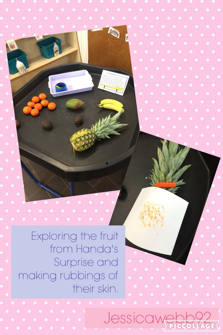 Exploring the fruit from Handa's Surprise and taking rubbings of their skins. EYFS