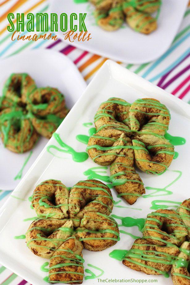 Shamrock Cinnamon Rolls for St. Patrick's Day Breakfast