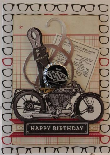Happy Birthday For Him Vintage Motorcycle Handmade Greeting Card Anna Griffin