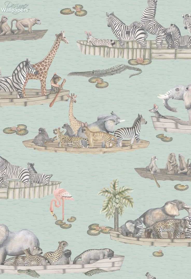 This delightful wallpaper features a flotilla of boats, with wildlife for passengers, floating gently down the Zambezi river in Zimbabwe.  The pattern is inspired by Operation Noah, a mission to save drowning animals in the 1960s, after the river flooded. Zebras, elephants, monkeys, crocodiles and even flamingos are depicted in this outstanding design, which is the perfect choice for a nursery or children's bedroom.  (Produced on a 70cm wide, 10.05m roll. The pattern repeat measures…