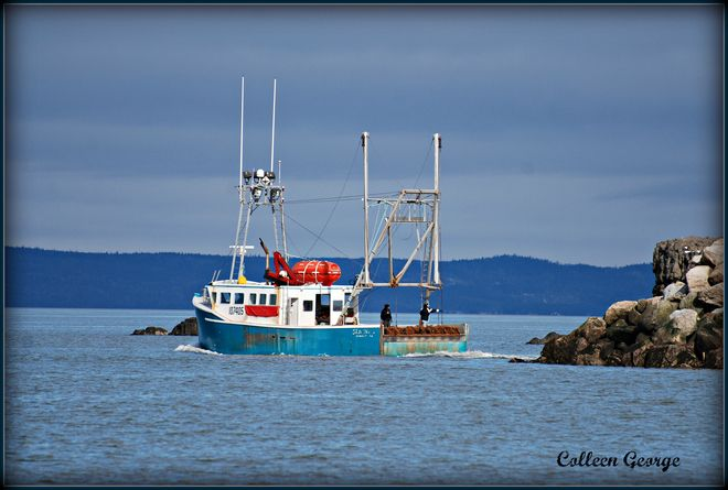 Fishermen head out from Hall's Harbour into the Bay of Fundy once the tide is high enough. Safe journey!