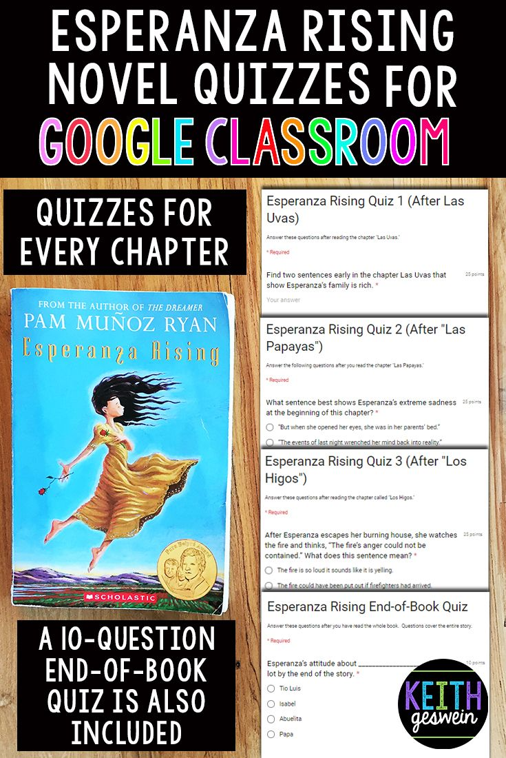 Quizzes for every chapter of Esperanza Rising for Google Classroom. These quick comprehension checks will help you monitor your students' understanding throughout the book.