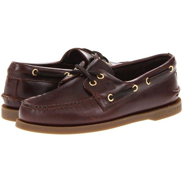 Sperry Top-Sider Authentic Original (Amaretto) Men's Lace up casual... ($95) ❤ liked on Polyvore featuring men's fashion, men's shoes, men's loafers, amaretto, boat shoes, mens leather moccasins, mens moccasins shoes, mens shoes, sperry mens shoes and mens leather deck shoes
