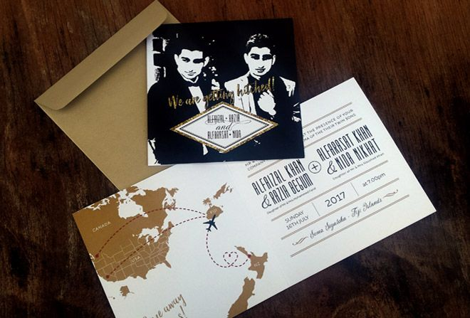 Destination wedding invitation by Beechtree Creative.
