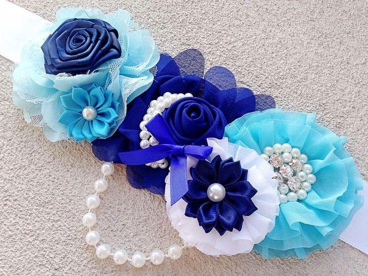 Boy Maternity Sash, Maternity Photo Prop, Blue And White Pregnancy Sash, Maternity Flower Belt, Newborn Sash, Belly To Birth Baby Sash