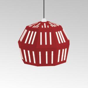 Kartonové svítidlo Uno Fantasia C Red, s černým kabelem