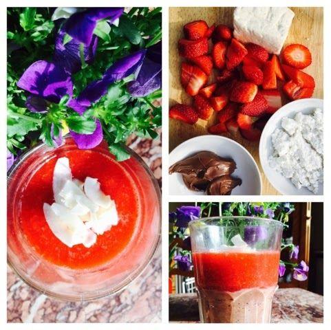 mashed up strawberries with chocolate-coconut tofu cheese. vegan recipes. wegańskie. wegetariańskie