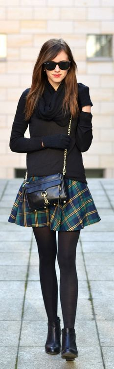 all black + little plaid skirt. Shop curated fall looks at trendslove http://www.trendslove.com/hashtag/fall