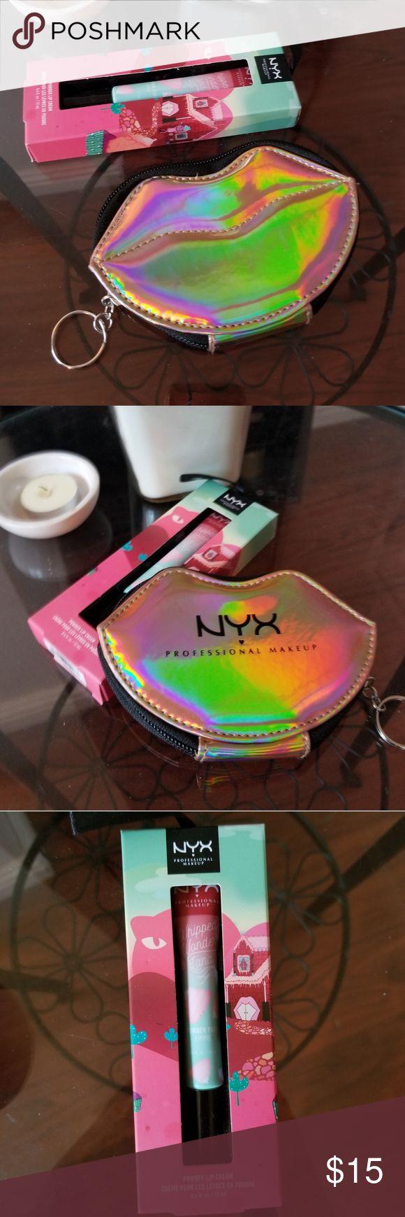 NYX Bundle Holographic Bag & NIB Holiday Lippie