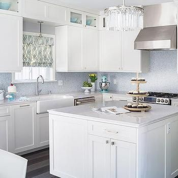 White Kitchen with Blue Mosaic Tile Backsplash, Contemporary, Kitchen