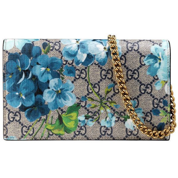 Gucci Gg Blooms Supreme Chain Wallet ($780) ❤ liked on Polyvore featuring bags, wallets, blue, gucci wallet, chain shoulder bag, floral bags, chain wallet and floral wallet