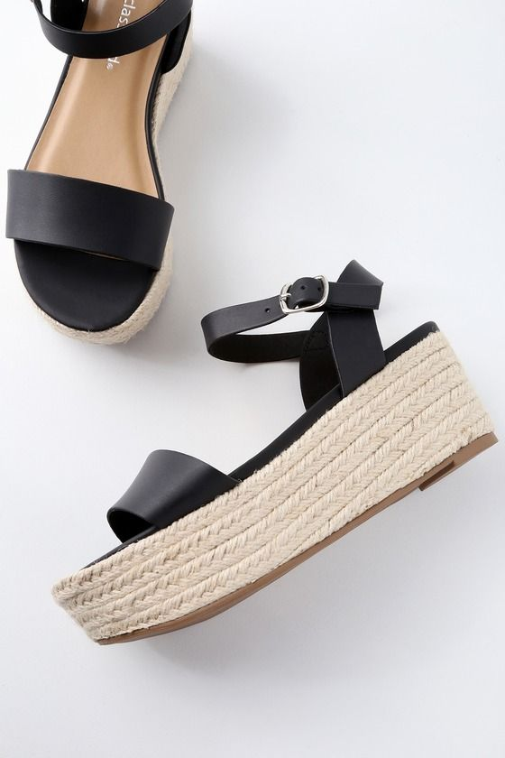 1300cf24b56 Trek down to the water in style with the Corsa Black Espadrille Flatform  Sandals! Sleek vegan leather covers a wide toe band