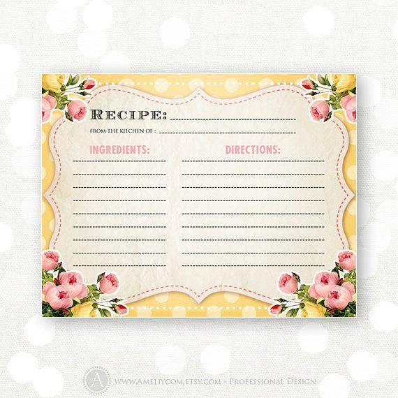 Printable Recipe Card Yellow Shabby Chic Bridal by AmeliyCom