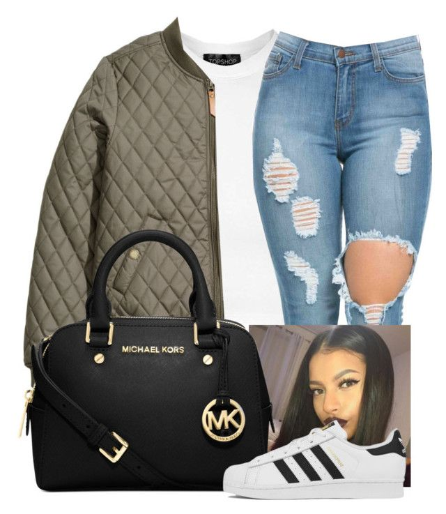 """Nothing"" by dxsirxx ❤ liked on Polyvore featuring Topshop, H&M, Michael Kors and adidas"