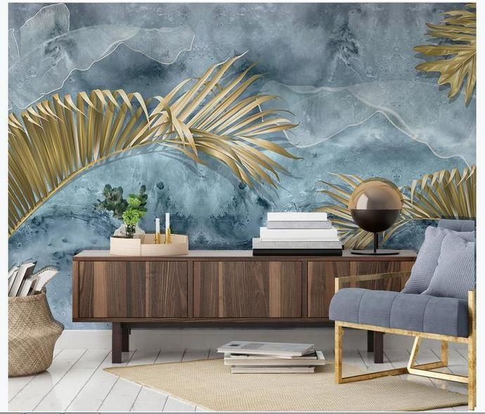 Custom Mural Wallpaper Modern Abstract Blue Cement Wall Plant Golden Leaves Wall Painting Living Room Tv Sofa Bedroom Wallpapers In 2020 Wall Painting Living Room Wallpaper Bedroom Custom Murals