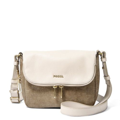 FOSSIL-Leather-Preston-Small-Flap-Metallic-Cross-Body-Messenger-Bag-Purse