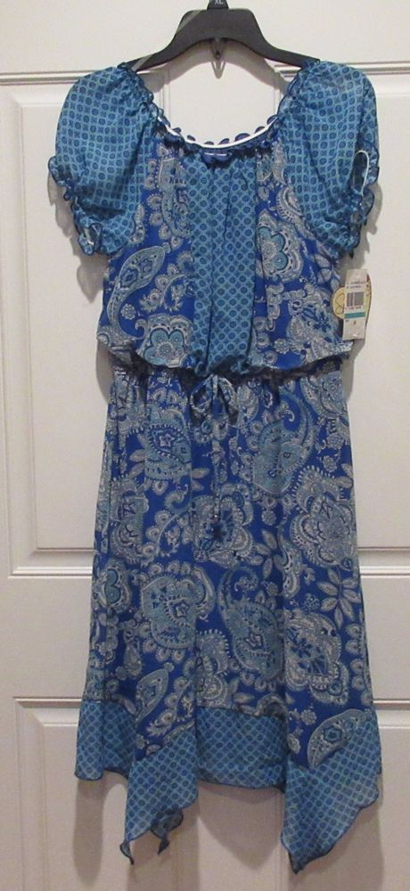 Girl Sz 16 Speechless Occasion Dress Blue Paisley Pattern Handkerchief NWT #Speechless #Dress