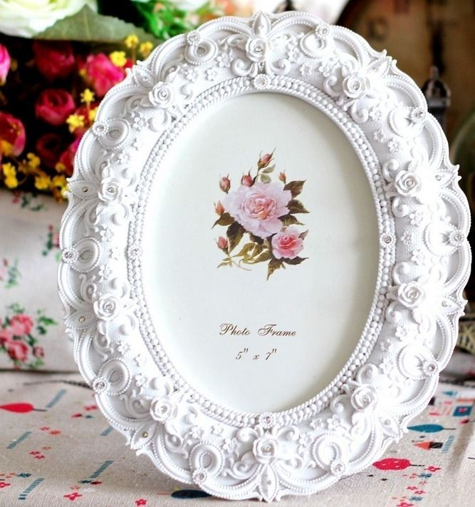 Retro Vintage White Rose Flower Home Decor Photo Frame Picture Resin 5'' x 7''