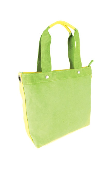 A multiutility canvas tote in trendy neon colours with an inner organizer pocket and contrast YKK zipper