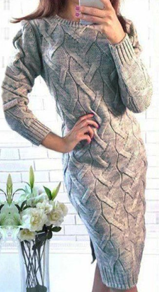 love sweater dress! i like the length and that its not super tight and i love the nuetrel grey