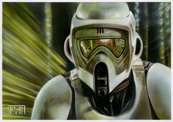Scout Trooper - Pursuit on Endor, Paul Butcher on ArtStation at https://www.artstation.com/artwork/1OEP8