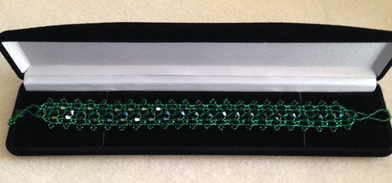 Beautiful Emerald Green Beaded Bracelet made by ForgivenMuse for sale on Etsy.