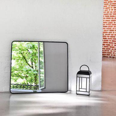Miroir rectangulaire angles arrondis en métal noir Uptown decoclico Factory