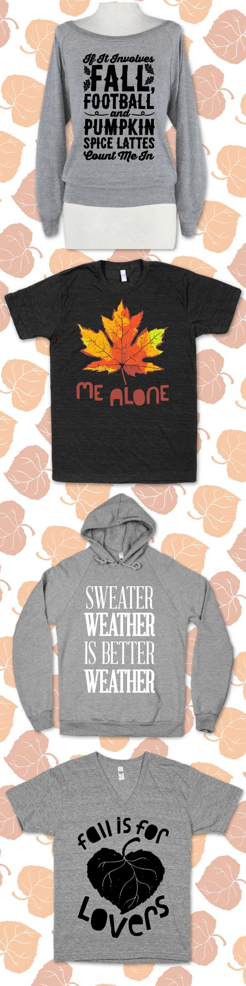 Celebrate fall with some cute fall, pumpkin spiced, football designed shirts. Who doesn't love fall?