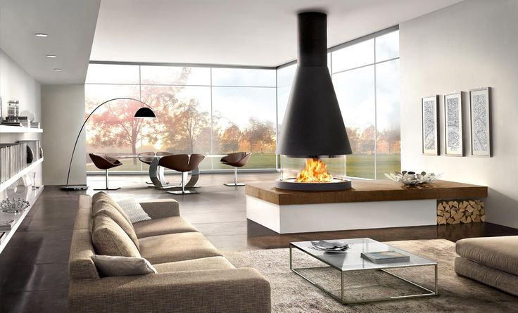 Living Inspirations:  Spruce up your living room with a hanging fireplace |  This winter, the hanging fireplace is key player in your living room - Read more on Designbest Magazine!
