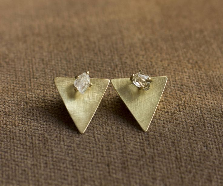 Herkimer Diamond Ear Jackets\\Crystal Earrings\\ Stud Diamond Earrings\\ Minimal Earrings\\ Triangle Earrings by NARCISSUSJEWELRY on Etsy