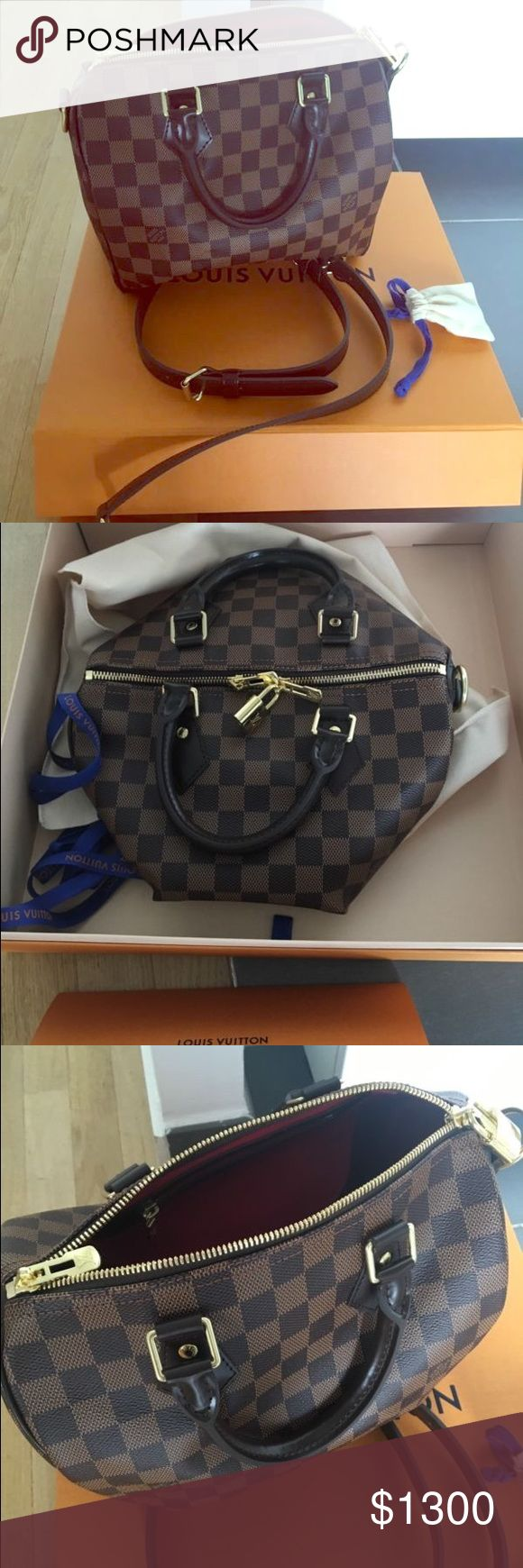 Louis Vuitton Speedy Bandouliere 25 BRAND NEW AUTHENTIC 2017 LV SPEEDY Bandouliere size 25. This bag is in PERFECT brand new condition. Absolutely NO flaws. made in France. I only used this purse a handful of times and sadly it does not fit my lifestyle as I wanted it to so it's just been sitting in the box! It will come with EVERYTHING it came with when purchased (dustbag, lock&keys, extra straps, receipt&cards) still smells new  this bag was about $1,500 with taxes so you'd be saving a few…