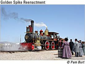 Located in Promontory, Utah, the Golden Spike National Historic Site celebrates the uniting of transcontinental railroad.