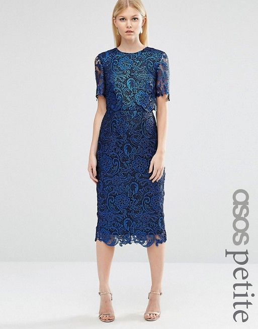 ASOS Petite | ASOS PETITE Exclusive Coated Lace Double Layer Wiggle Dress