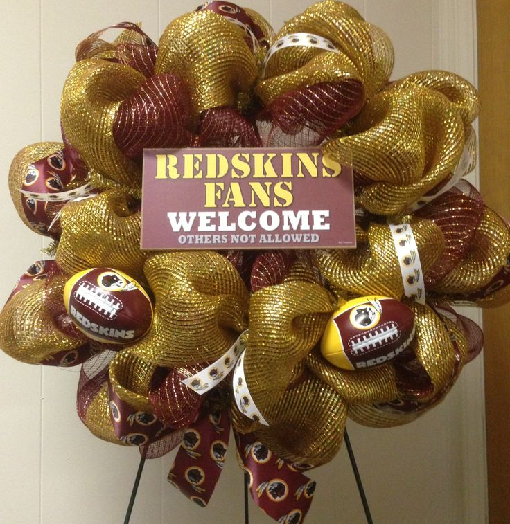 Redskins wreath I made for a friend. I LOVE IT.................BUT I WILL ADMIT SAINTS.......THEY CAN COME MARCHING IN...