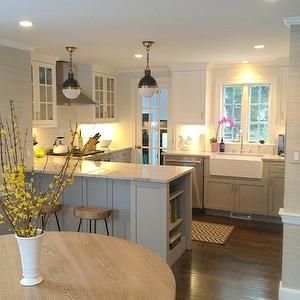 Gray Kitchen Cabinets, Transitional, kitchen, Benjamin Moore Cape May Cobblestone, Erin Gates Design