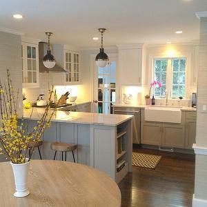 Gray Kitchen Cabinets, Transitional, kitchen, Benjamin Moore Cape May Cobblestone, Erin Gates Design