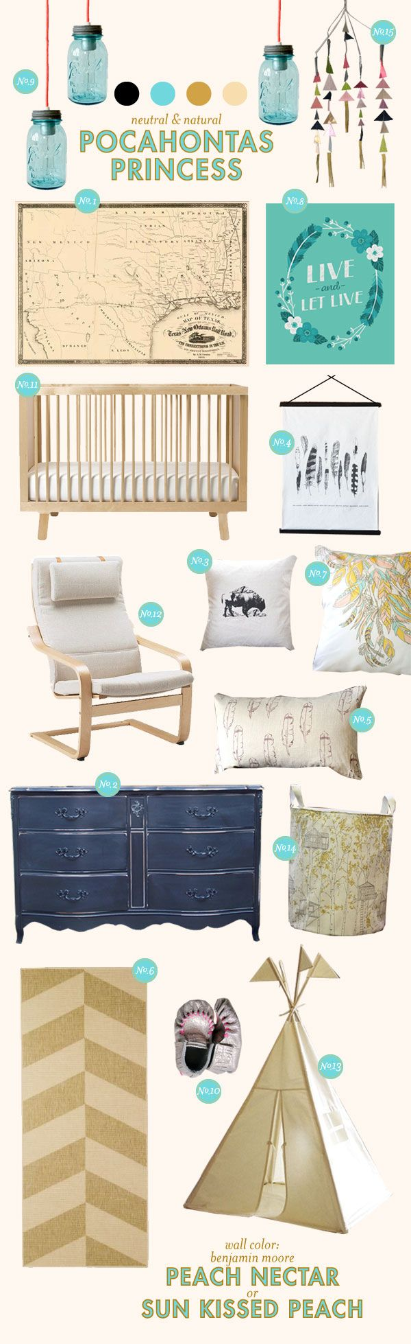 Not sure about the Pocahontas part, but I love the different DIY ideas and the colors for a nursery look