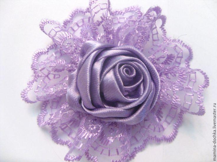 """Купить Брошь """"Фиолетовое кружево"""" - фиолетовый, брошь, брошь ручной работы, брошь цветок"""
