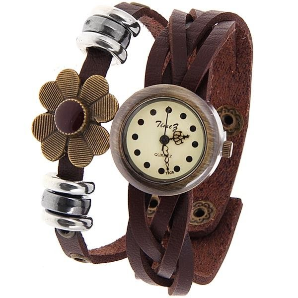 Free Shipping Round Dial Leather Band Womens Watch
