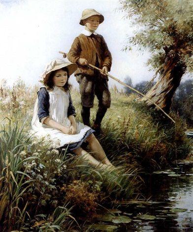 """""""The young Anglers"""" (1915) von William Kay Blacklock Maler (geboren im Jahr 1872 in Bishopwearmouth, England, gestorben am 11. August 1924 in Polperro, England), britischer Maler."""